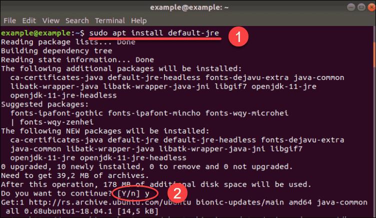 Install Java Runtime Enviorment on Ubuntu.