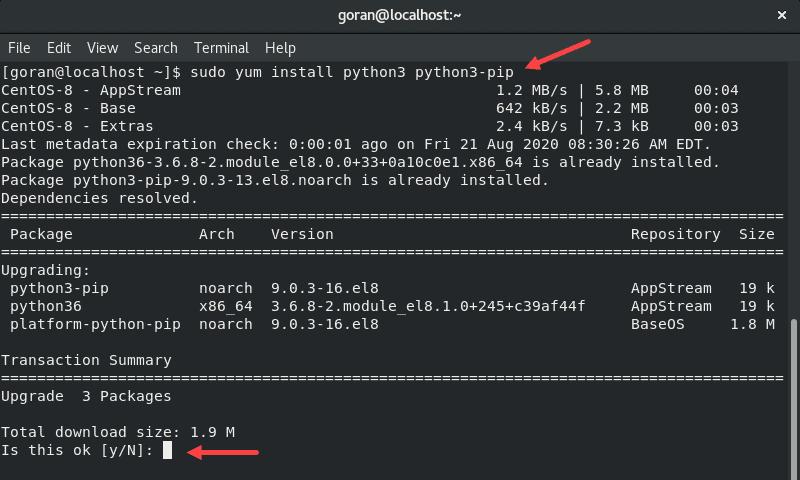 Installing python3 in the terminal on CentOS