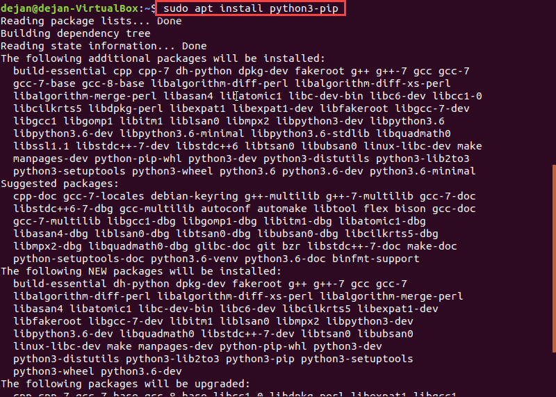 screenshot of the Terminal installing of Python Pip on Ubuntu 18.04