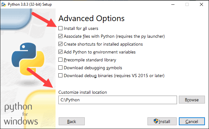 Python installation, advanced options step