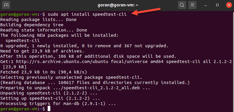 Install speedtest-cli on Ubuntu.