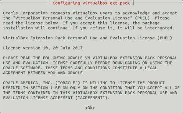 VirtualBox licence agreement.