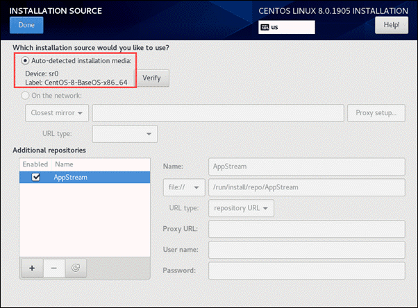 select installation source for CentOS 8