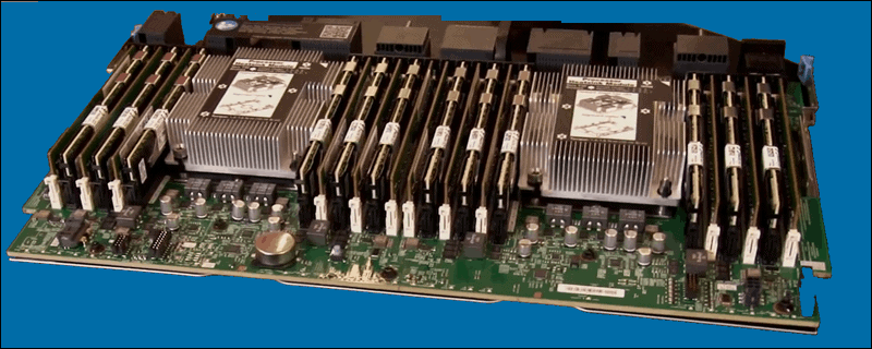 Image showing 2 CPUs with 6 DRAM moduls and 6 DCPMMs.