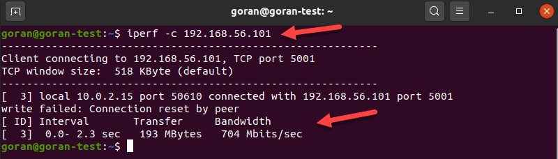 Show the transfer and bandwidth information with iperf command.