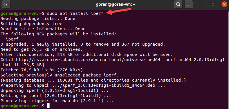 Install iPerf tool on Linux.