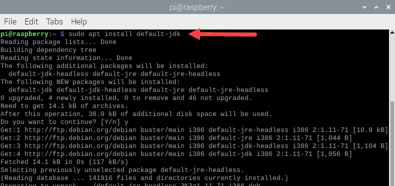 Output when installing Java on Raspberry Pi