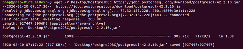 The terminal confirms that the jdbc package for PostgreSQL has been downloaded successfully.