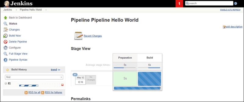 example screenshot of Jenkins dashboard