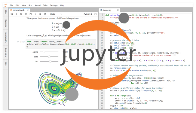 Jupyter IDE with a notebook on the left, code on the right and the official logo in the center