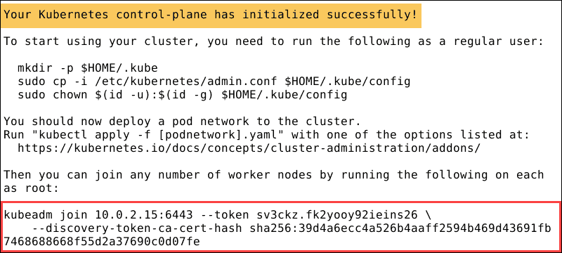 Confirmation that Kubernetes was successfully initiated.
