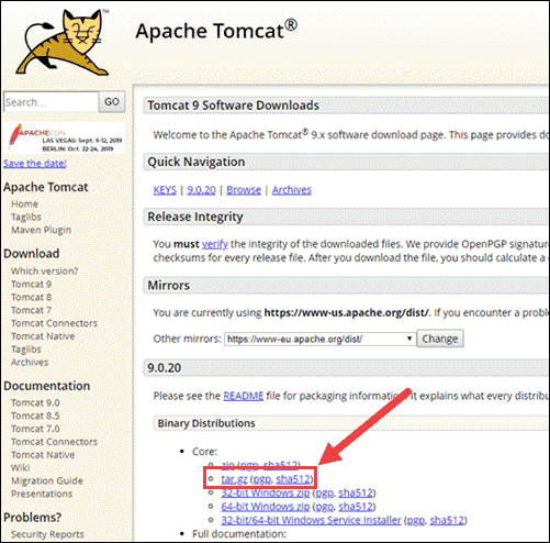 Locate latest Tomcat release.