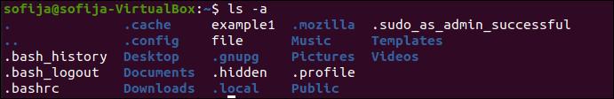 List hidden files in Ubuntu using ls command.