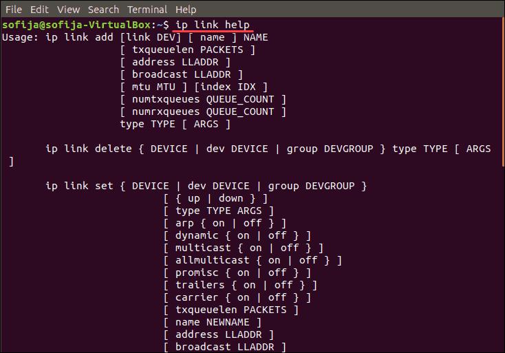 list ip link commands