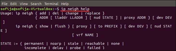 list neigh commands