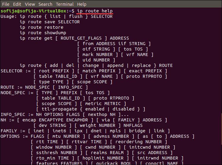 list route commands