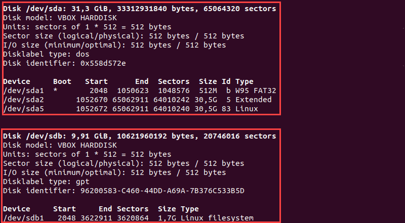 List all existing partitions with fdisk command.