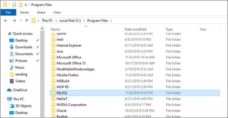 example of locating the MySQL folder