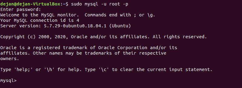 screenshot of Logging into MySQL shell