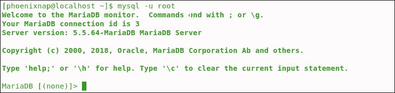 Successful access to MariaDB.
