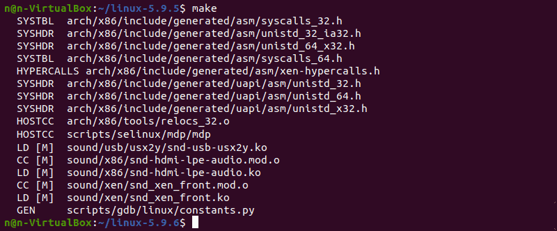 Using the make command to build kernel.
