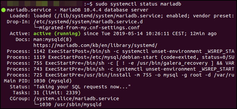 verify MariaDB database is running Ubuntu