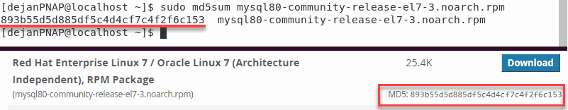 Verify the md5sum string with the one on MySQL's website.
