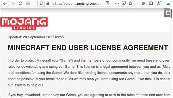 Minecraft end user license agreement.