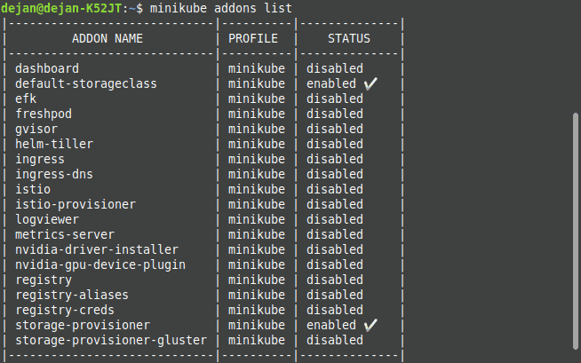 A list of installed Minikube addons.