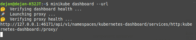 Terminal command to get the Minikube dashboard URL for accessing it via browser.