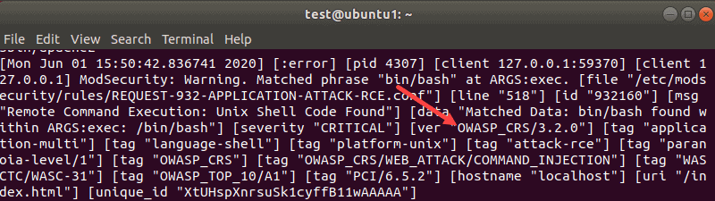 OWASP CRS error message in the Apache log
