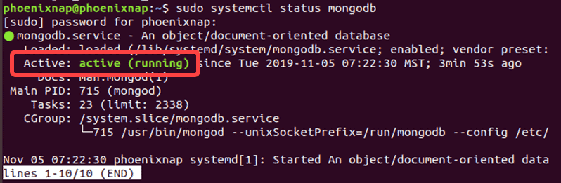 Ubuntu output confirms that MongoDB is active and running