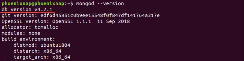 Latest version of MongoDB installed.