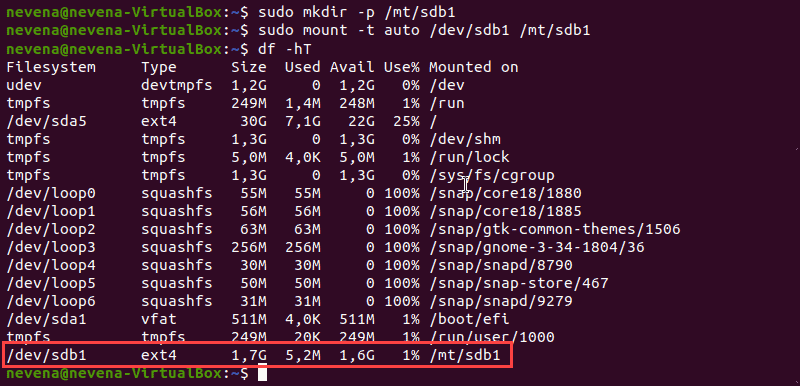 The output that displays mounted partitions in Linux.