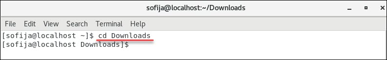 move to downloads directory in centos