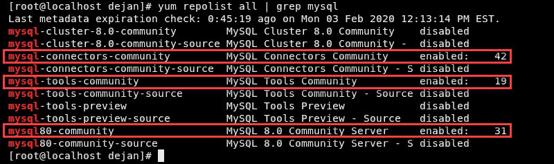 Verification that the MySQL Community repository installed on CentOS 8