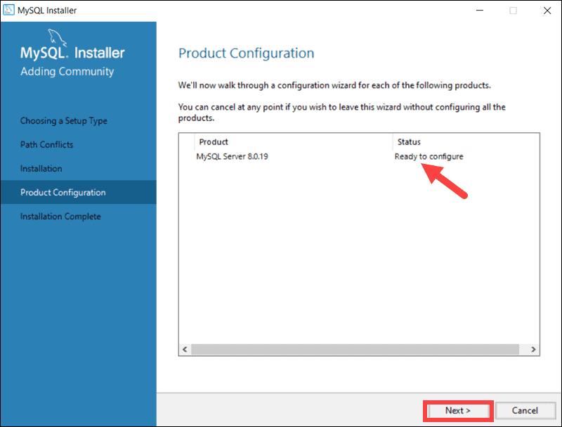 Start the MySQL configuration process by clicking Next.