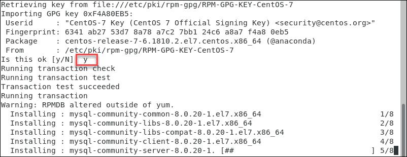 Verify the MySQL GPG key.