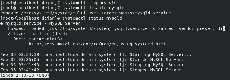 MySQL status inactive and disabled at boot in CentOS 8