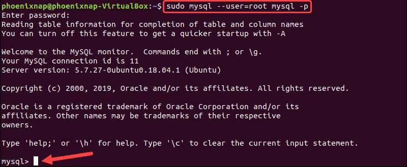 Command to log in to MySQL shell.