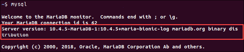 Output of the MySQL version data