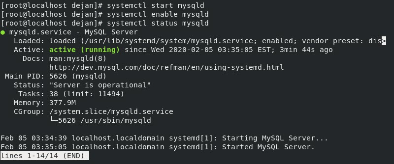Terminal output in CentOS when MySQL is active and enabled.