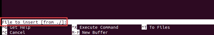 inserting contents of another file command