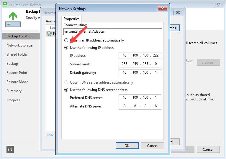 Network settings example