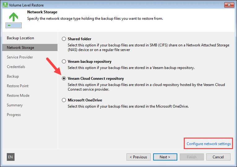Choosing Veeam Cloud Connect repository