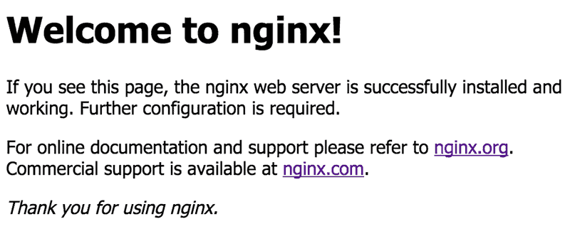 The default nginx landing page.