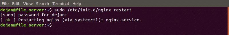Restart nginx with nginx restart command.