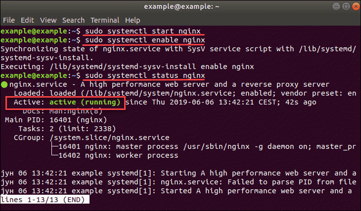 nginx service running