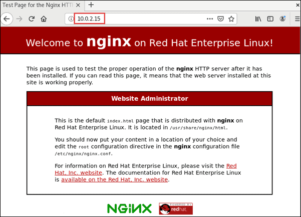 Confirm Nginx HTTP server is running by navigating to the Nginx test page.