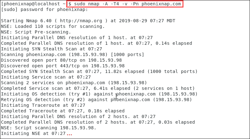 Overview of a nmap scan iAn Centos